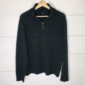 J. CREW 1/4 Zip Lambs Wool Pullover Sweater MEDIUM